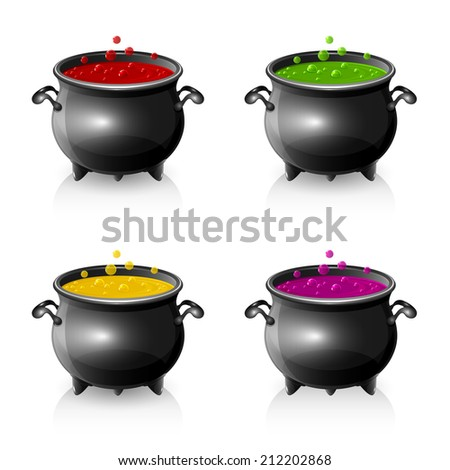 Set of Halloween witches cauldrons with potion, illustration. - stock photo