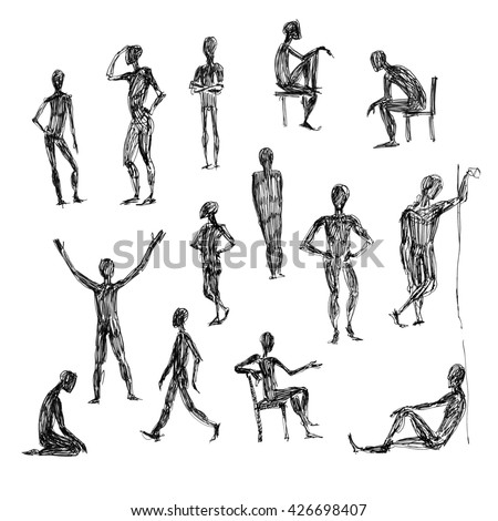 set of hand drawing people sketch in different poses on white background