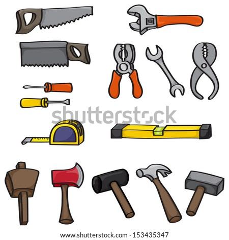 Set of 15 hand drawn cartoon building tools. Set includes hammer, mallet, rubber mallet, wooden mallet, tape measure, spirit level, two screwdrivers, wrenches, pliers, saws and an axe. Raster Version.