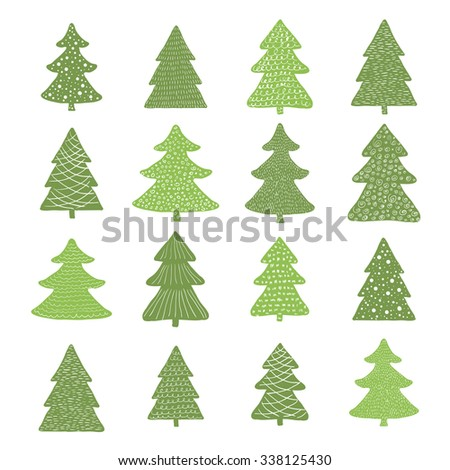 Set of hand drawn christmas trees. Raster version - stock photo