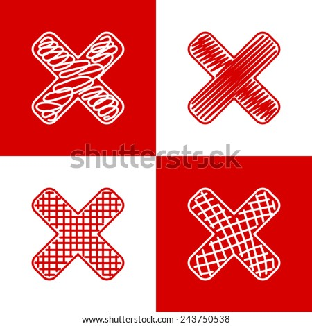 Set of hand drawn crosses. Grunge style icons collection - stock photo