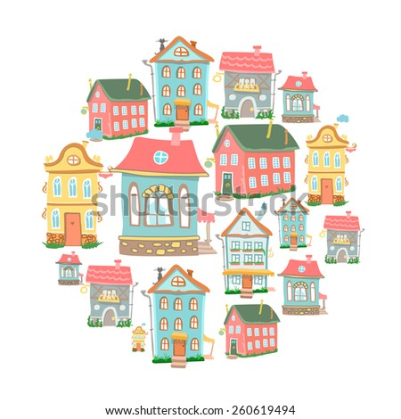 set of hand-drawn  Cute cartoon houses in different architectural styles  isolated on white - stock photo