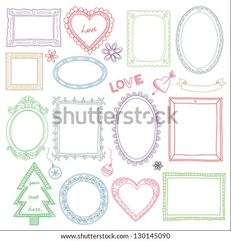 Set of hand drawn doodle frames and other elements - stock photo