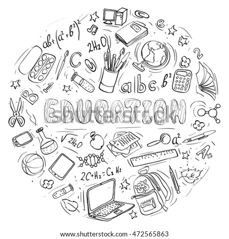 set of hand drawn education doodles shaped in circle.