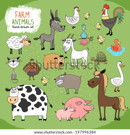 Set of hand-drawn farm animals and livestock with a black and white cow  horse  donkey  sheep  pig  piglet  goose  duck  rooster  hen with chicks  guard dog  cat  goat and tortoise - stock photo
