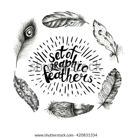 set of hand drawn feathers on white background. Boho decoration  black and white  illustration of line elements. Bird fly design for T-shirt, invitation, wedding card.Rustic Bright colors. - stock photo