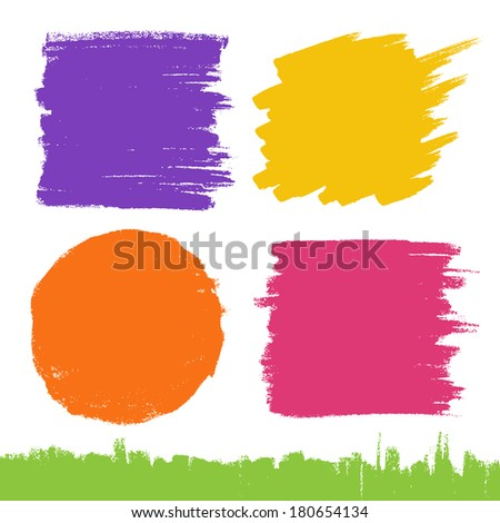 Set of Hand Drawn Flat Grunge Stains on White Background. Raster Illustration - stock photo