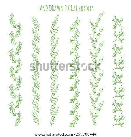 Set of hand drawn floral borders. Raster version - stock photo