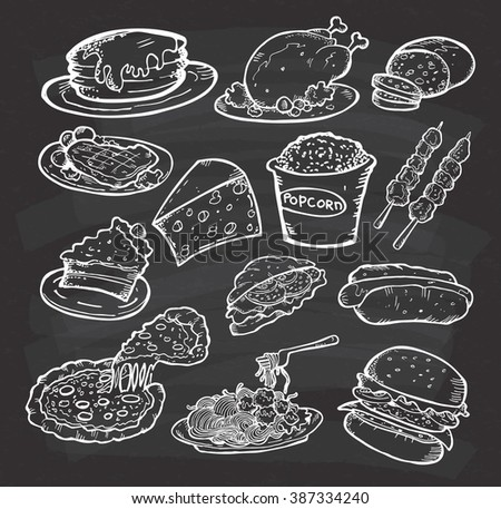 Set of hand drawn food and snack on chalkboard background - stock photo