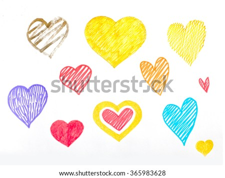 Set of hand drawn hearts on the white background. For wedding decorations or on St. Valentine's day. - stock photo