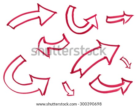 Set of hand-drawn marker arrows isolated on white background - stock photo