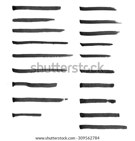 Set of hand drawn marker lines to highlight words - stock photo