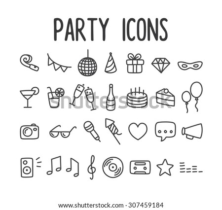Set of hand drawn party line icons. - stock photo