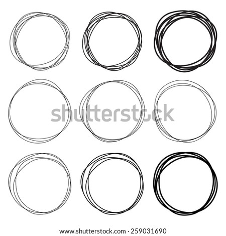 Set of 9 Hand Drawn Scribble Circles, raster logo design elements  - stock photo
