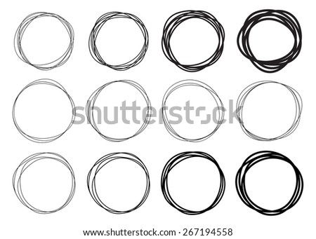 Set of 12 Hand Drawn Scribble Circles, vector logo design elements - stock photo