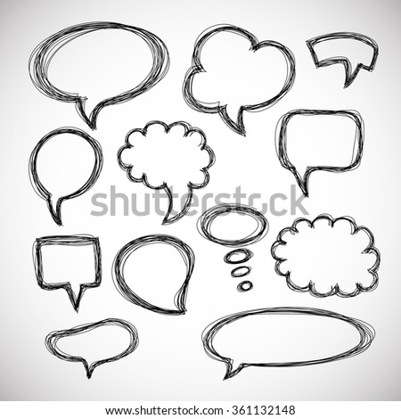 Set of hand-drawn speech and thought bubbles on white background. .