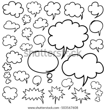 Set of hand drawn speech bubbles and thought clouds design elements isolated on white. Rasterized copy.