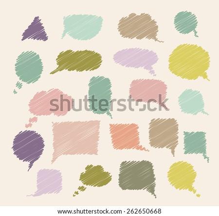 set of hand drawn speech bubbles. raster version - stock photo