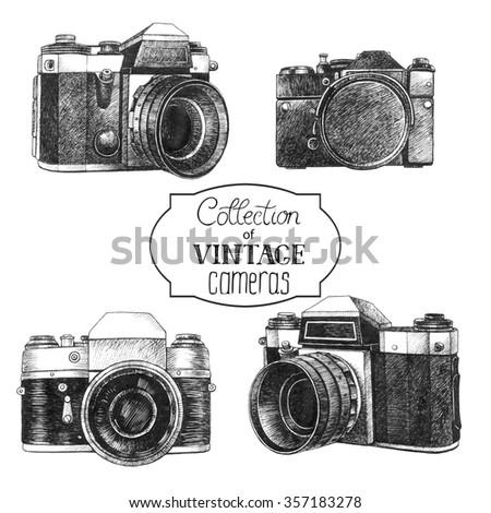Set of hand drawn vintage cameras - stock photo