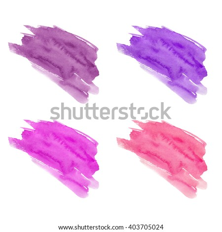 Set of hand drawn watercolor stains. Purple, pink, eggplant and magenta colors. Juicy and bright colors. It can be used for wrap, wallpaper, website, pattern, decor, print. - stock photo