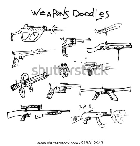 set of hand drawn weapons.
