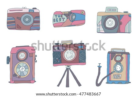 Set of hand-drown doodle cameras photo . Raster