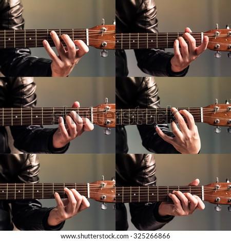 Set Hand Hold Basic Guitar Chord Stock Photo Image Royalty Free