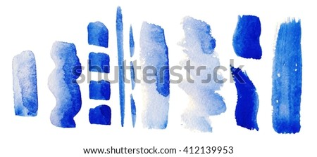 Set of hand-painted brush strokes. watercolor stripes isolated on white background. Abstract watercolor art hand painted background. Watercolor stains. colorful vintage water colour texture.
