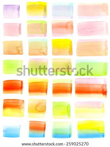 Set of hand-painted watercolor brush strokes. Layered rectangle and square shapes in pastel tones. White background for easy cutout. Hand drawn using transparent watercolor paint on paper. - stock photo