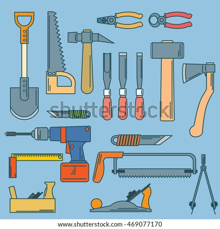 set of hand tools for productive work. illustration.