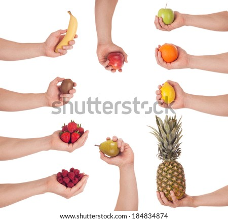Set of hand with fruit, isolated - stock photo