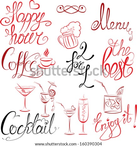 Set of hand written text: Happy Hour, Menu, Coffee, Cocktail , etc. Calligraphy elements for cafe or restaurant design in vintage style. Raster version - stock photo