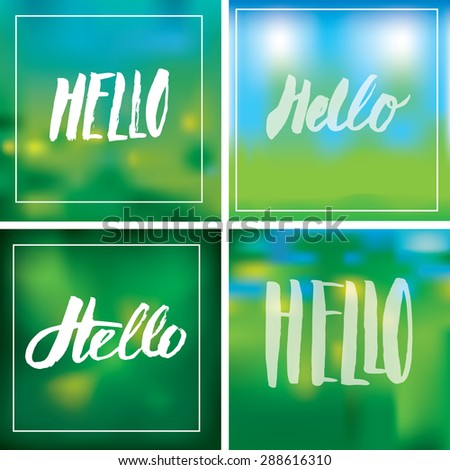 Set of  handmade lettering signs HELLO - stock photo