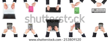 Set of hands at office. Computers and calculators - stock photo