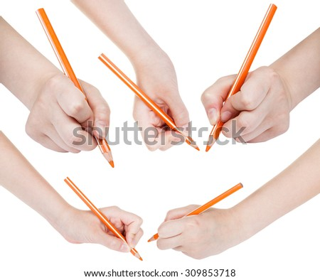 set of hands draw by orange pencil isolated on white background