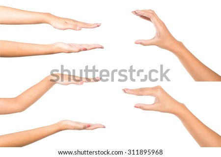 set of hands showing sizes - hand gesture isolated on white background - stock photo