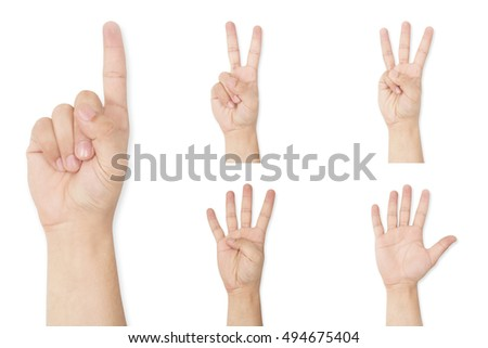 Set of hands symbol showing finger count up to five