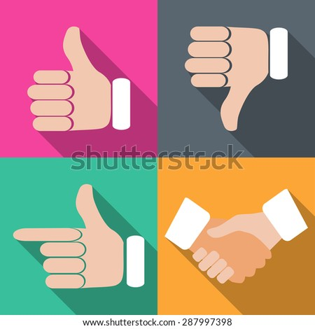 Set of hands with fingers on different backgrounds in flat illustration