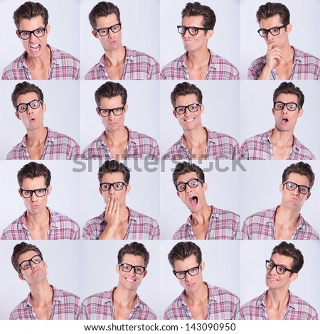 set of handsome emotional man over gray background - stock photo