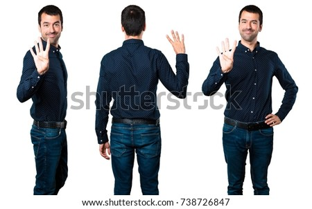 Set of Handsome man counting four