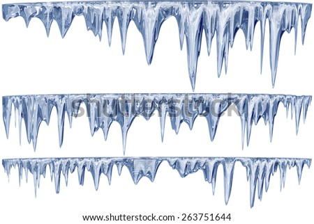set of hanging thawing and melting blue dripping icicles, as a shiny crystal glass, with crisp spikes in icy winter season time from freezer make around arctic frost with icing on the scene - stock photo