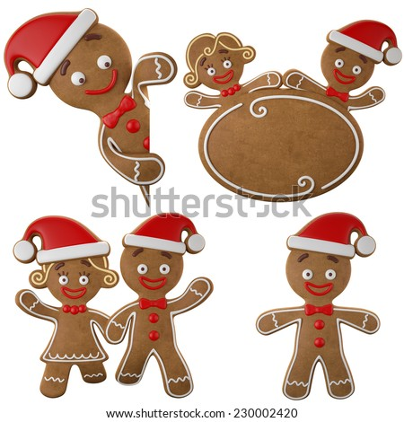 Set of happy Christmas gingerbread, 3d characters, girl and boy, merry Christmas icons, funny objects isolated on white background - stock photo