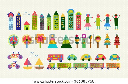 Set of happy colorful geometry city elements. Includes house, people, nature, environment and transport shapes.  - stock photo