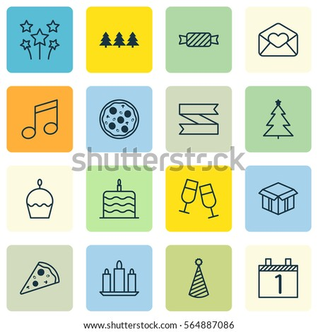 Set 16 happy new year icons stock illustration 564887086 shutterstock set of 16 happy new year icons includes birthday hat wax greeting email m4hsunfo