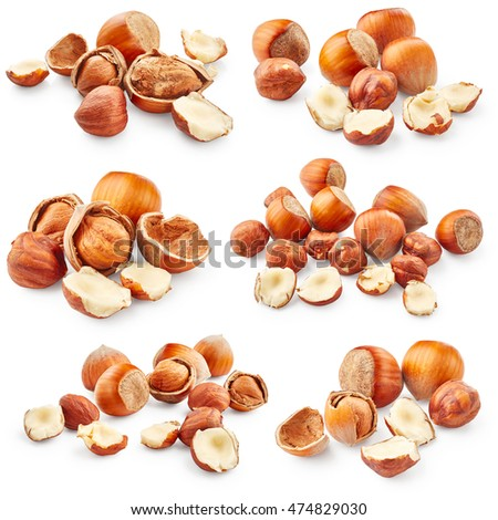 Set of hazelnuts isolated on white background