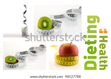 set of 4 healthy foods and fruits wrapped in white and yellow measuring tape. - stock photo