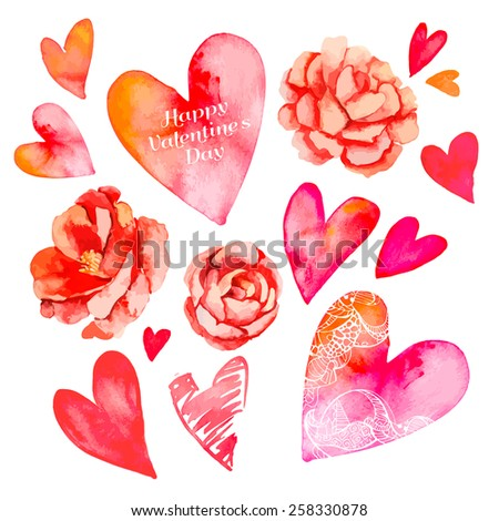 Set of hearts and roses. Valentine's Day. Watercolor heart. Camellia. - stock photo