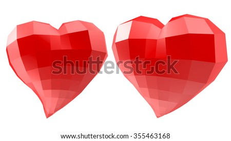 Set of hearts with faceted low-poly geometry effect isolated on white background - stock photo