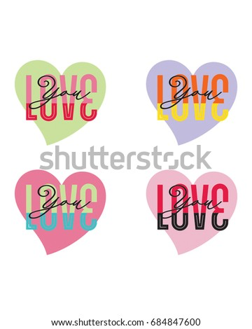set of hearts with lettering saying: love you