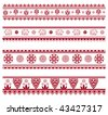 Set of henna painting inspired seamless border patterns, also available in vector - stock vector